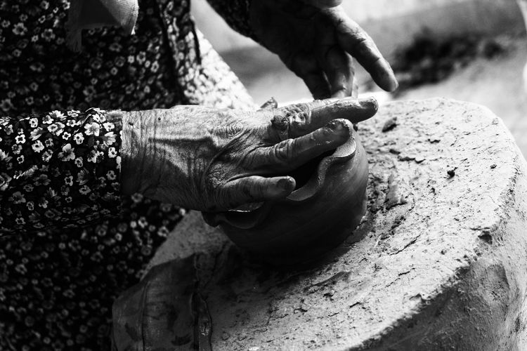 .Hand-made Pottery. Pottery Human Hand Occupation Men Close-up Clay EyeEmNewHere This Is Aging