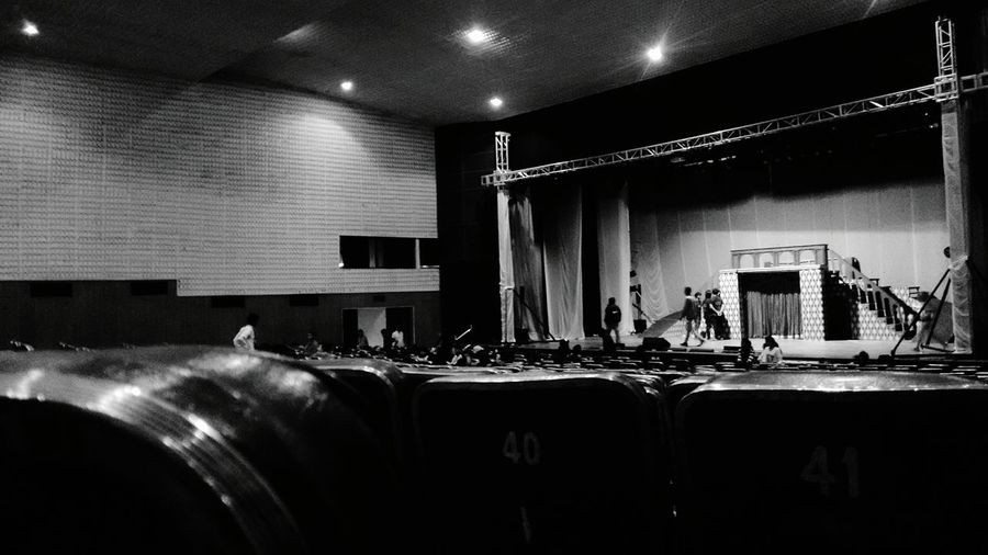 The stage getting ready for the next play. Life Play Auditorium Stage Act Monochrome EyeEm Gallery EyeEm Best Shots Showcase: January Chowdaiah Lights Shadow The Architect - 2016 EyeEm Awards