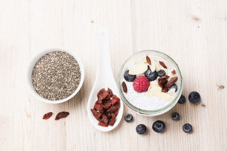 chia seed pudding with coconut milk and berries Berries Blue Berries Bowl Chia Pudding Chia Seed Pudding Chia Seeds Food Freshness Fruit Gojiberries Healthy Eating High Angle View Indoors  No People Raspberries Ready-to-eat Vegan Vegetarian Food