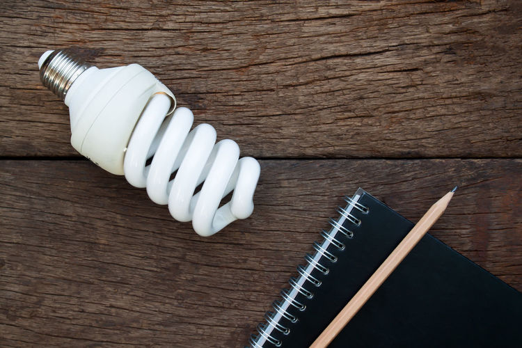 Light bulb and notebook with pencil on wooden table Business Creativity Growing Intelligent Positive Smart Thinking Work Close-up Concept Creative Diary Energy High Angle View Idea Lamp No People Start Up Success Table Technology White Color Wood - Material Wooden