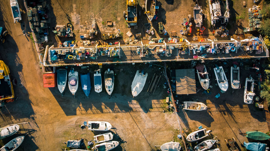 High angle view of boats on parking lot