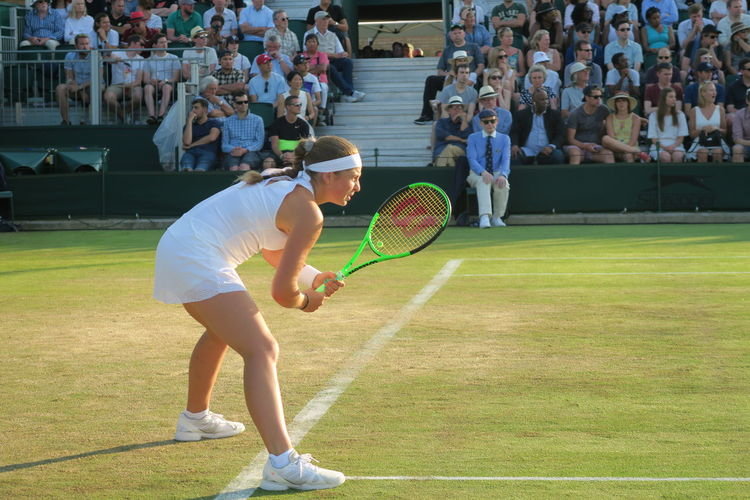 Athlete Championship Concentration Crouched Day Determination Focus Grass Jelena Ostapenko Sportswoman Sunlight Tennis Tennis Ball Tennis Court Tennis Player Tennis Racket Tennis Racquet Tennis 🎾 Waiting Wimbledon
