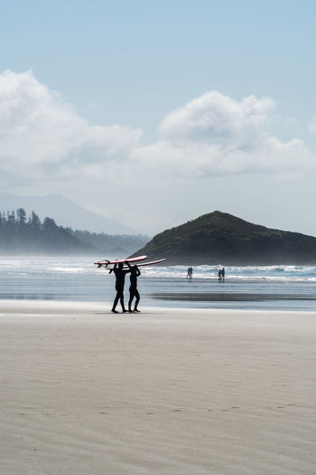 Having fun in Tofino Sony A6300 18-105mm Travel Destinations Tourist Attraction  Tourism Destination Idyllic Idyllic Scenery Surfing Surf Lifestyles Lifestyle People People Photography Life Is A Beach Beach Canada Coast To Coast British Columbia Vancouver Island Sky Water Land Sea Cloud - Sky Beauty In Nature Real People Mountain Scenics - Nature Sand Nature Day Men Outdoors Life Two People Full Length Standing Togetherness