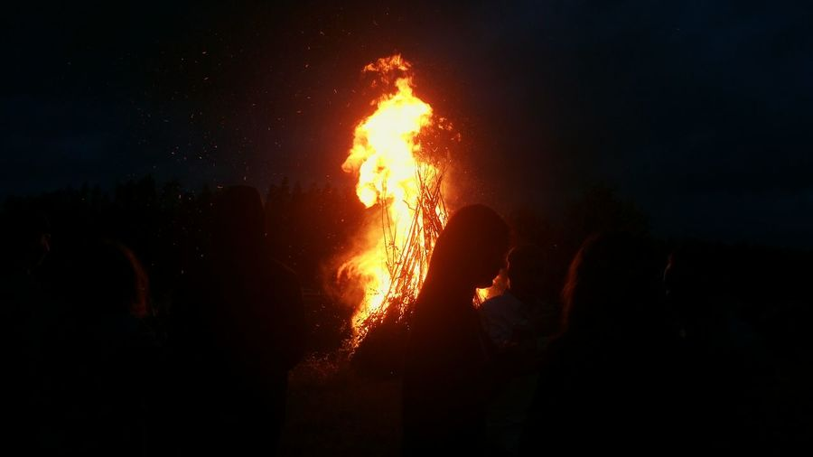 Night Fire Burning Flame Communication People Nature Celebration Midsummer Day Midsummernight Midsummer In Finland