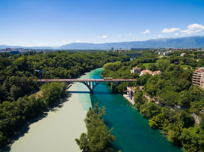 High angle view of bridge over river against sky