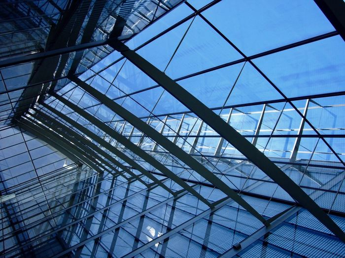 Post Tower Architecture Blue Building Built Structure Ceiling Day Directly Below Geometric Shape Glass Glass - Material Indoors  Low Angle View Metal Modern No People Pattern Sky Skylight Steel Sunlight Transparent EyeEmNewHere