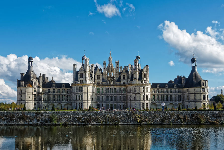 Chateau De Chambord Architecture Building Exterior Built Structure Castle Château City Cloud - Sky Day History Nature No People Outdoors Place Of Worship Sky Tourism Travel Travel Destinations Water Waterfront