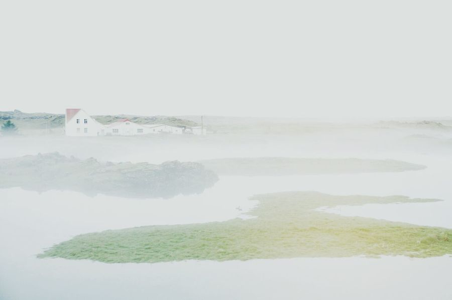 Iceland Fog Lonely House House Countryside Scandinavia Weather