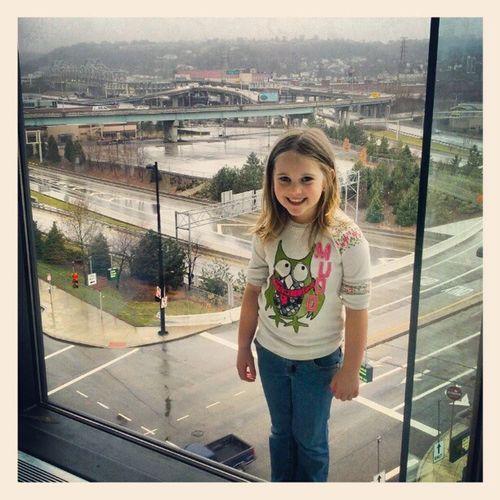 Zoey with Downtowncincinnati behind her Cincinnati Cavalcadeofcustoms Dukeenergyconventioncenter