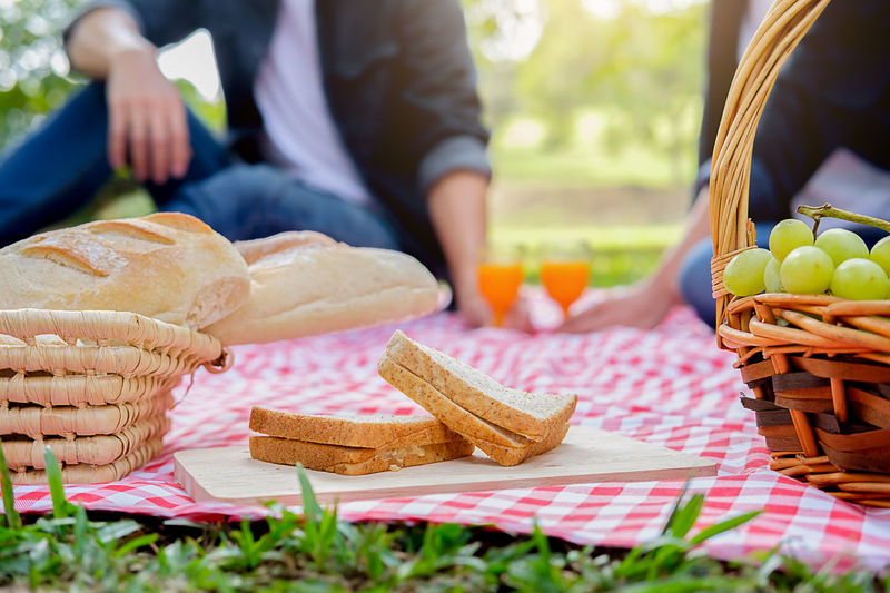 Basket Bread Close-up Day Food Food And Drink Freshness Fruit Healthy Eating Lifestyles Low Section Men Midsection One Person Outdoors People Picnic Picnic Basket Picnic Blanket Ready-to-eat Real People Whicker