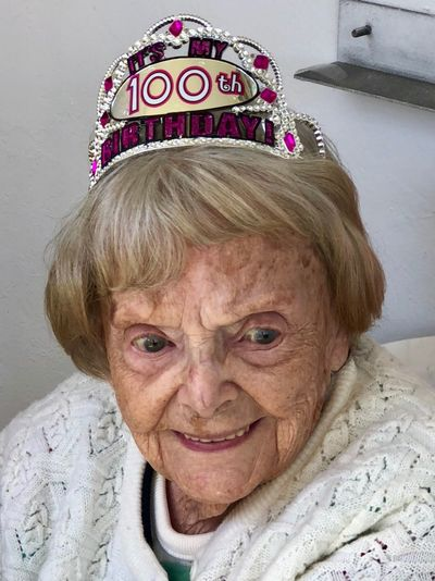Age is just a number Beautiful Woman 100th Birthday Portrait Looking At Camera One Person Headshot Real People Smiling This Is Aging Senior Adult Crown