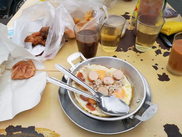 Breakfast @Huahin Breakfast Coffee Tea Panned Egg Thailand Huahin Deep-fried Doughstick Grilledpork EyeEm Selects Dessert Plate Table High Angle View
