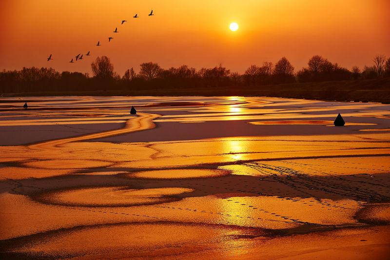 Scenic View Of Landscape Against Orange Sky