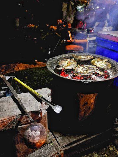 Sliced grille fish Night Grill Thai Fish Worm Food Food And Drink Preparation  No People Preparing Food Fast Food
