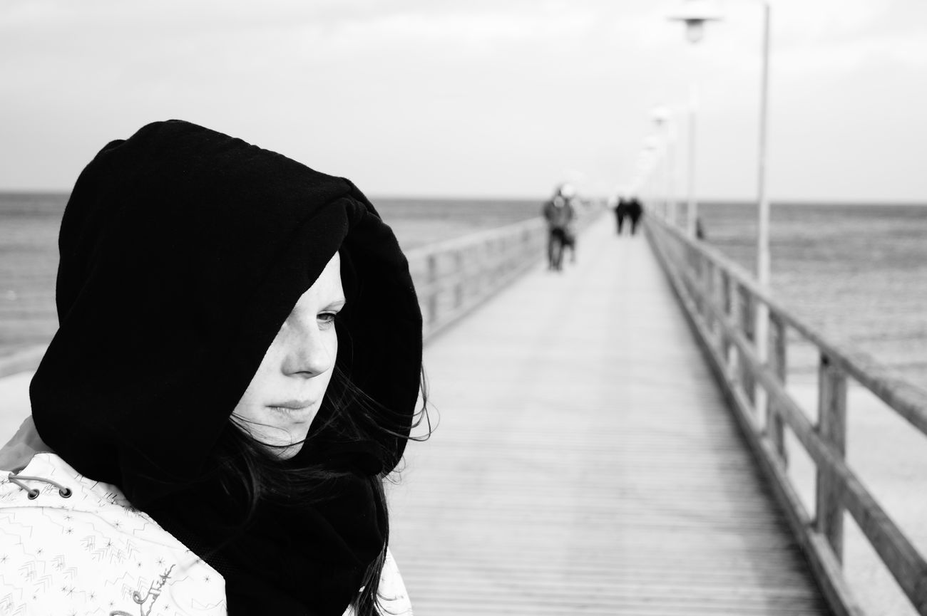 Woman Black And White Ostsee Seebrücke Bansin