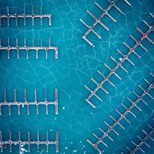 Frozen Full Frame Backgrounds Pattern No People Green Color Built Structure Close-up Day Architecture Directly Above Tile Outdoors Flooring Blue Wall - Building Feature Repetition Metal Pool Building Exterior Swimming Pool Turquoise Colored