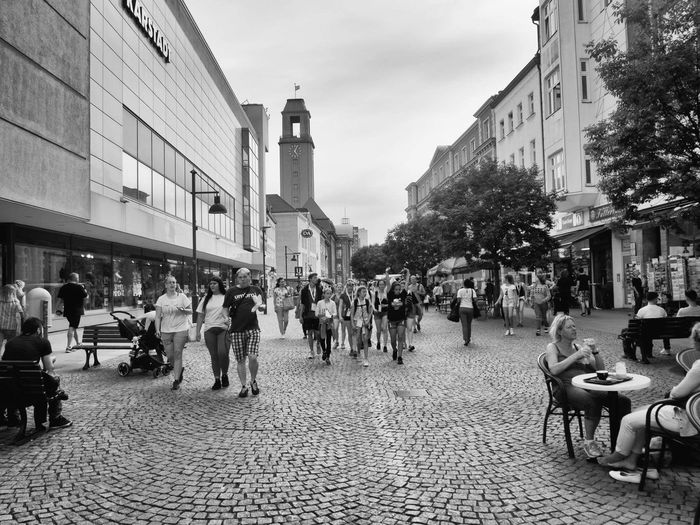 Building Exterior Architecture City City Street Street City Life Outdoors Built Structure Large Group Of People People Day Crowd Sky Adult Adults Only Spandau Berlin, Germany  Blackandwhite Photography Elegant Black & White Let's Go. Together. Travel Destinations EyeEm Selects Cityscape City City Life Your Ticket To Europe