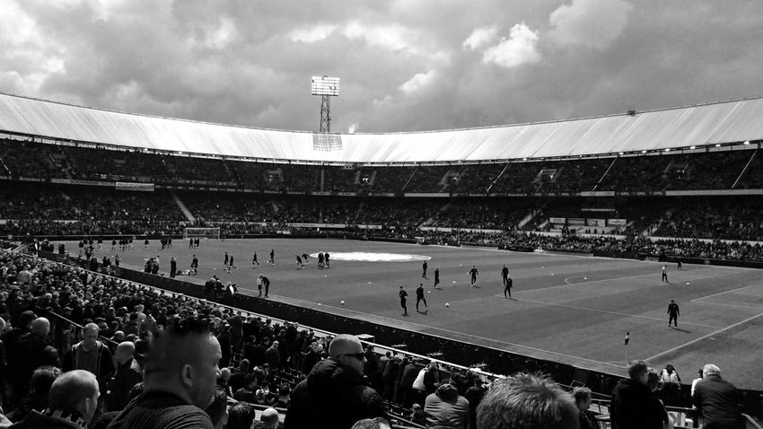 Black And White Monochrome Stadium De Kuip Feyenoord Rotterdam (c) 2017 Shangita Bose All Rights Reserved Before The Game Rotterdam Feyutr Football Stadium Architecture Stadium Lights Large Group Of People Sport Grass From My Point Of View. Activity