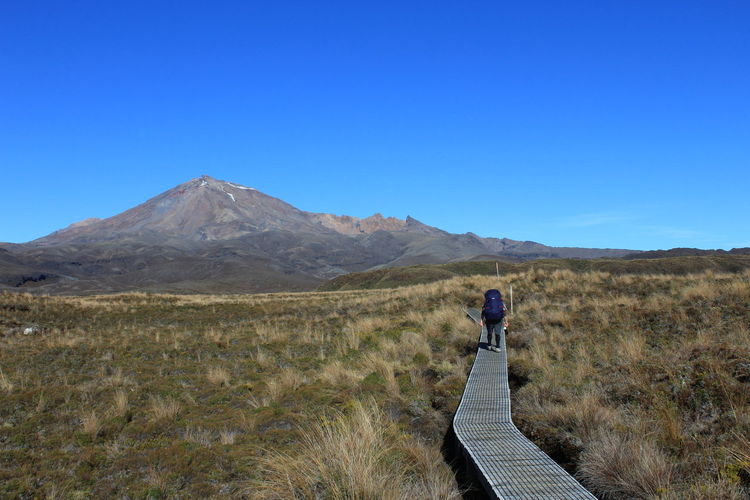 Walking the boardwalk on the Tongariro Circuit. One Person Mountain Clear Sky Nature Blue Beauty In Nature Outdoors Landscape New Zealand New Zealand Scenery Tramping Hiking Hikingadventures Hiking, Mountains, Adventure Mt Ruapehu Tongarironationalpark Tongarironortherncircuit Great Walk Nz North Island Investing In Quality Of Life