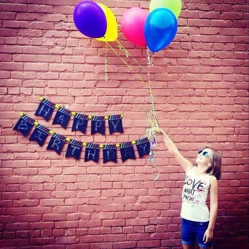 Birthday Girl Brick Wall Balloons Cool Shades