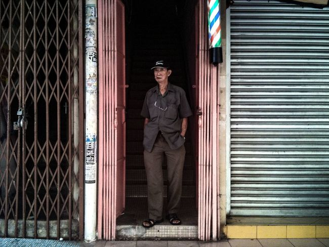 Old Man Barber Doorway Shophouse One Person Full Length Portrait Adult Outdoors Street Photography Streetphotography Streetphoto_color Street Life Everybodystreet Iphoneonly