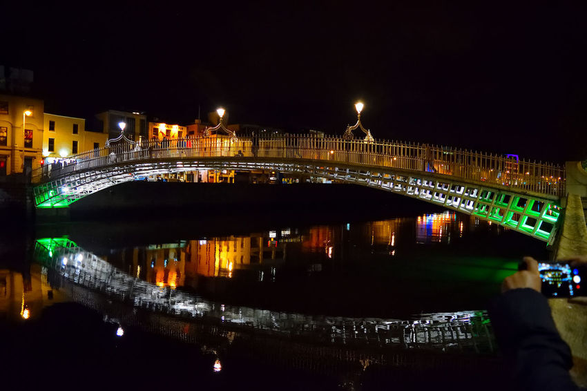 Dublin's famous landmark, the Ha'penny Bridge EyeEm Best Shots EyeEm Nightscape EyeEm Nikon EyeEm Selects Eyeem Night Photography Ha'PennyBridge Night Photography Architecture Bridge - Man Made Structure Building Exterior Built Structure City Cityscape Colour Palette Illuminated Light And Shadow Night Outdoors River Sky And River Water