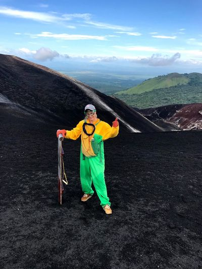 Nicaragua Cerro Negro Volcano VolcanoBoarding Boarding Extreme Sports Adventure Adrenaline Junkie Mountain Volcanic Landscape Volcano Crater Sky Full Length Women One Person Sport Looking At Camera Standing Nature Landscape Lifestyles Beauty In Nature