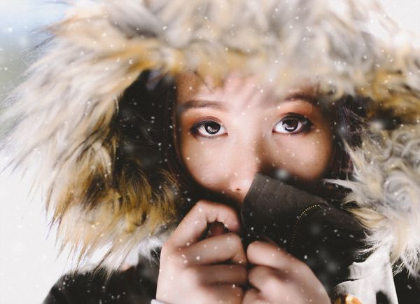 Human Body Part One Person Looking At Camera Portrait Close-up One Girl Only Child Winter Headshot Human Face Children Only Human Eye Cold Temperature Outdoors People Snow Human Hand Warm Clothing Day Snowing Women Who Inspire You Portrait Of A Woman Asian  Snow ❄