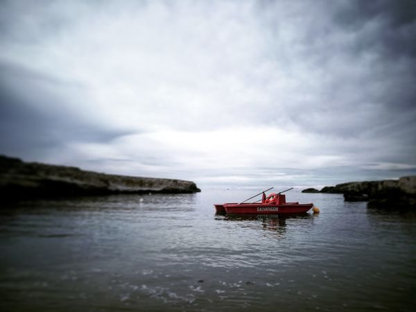 Red Nautical Vessel Transportation Water Nature Outdoors Cloud - Sky River Travel Destinations Tranquility Landscape Sky Day Beauty In Nature No People
