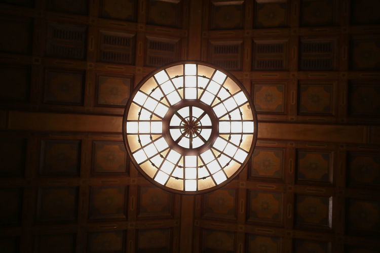 Architecture Built Structure Ceiling Ceiling Circle Day Geometry Illuminated Indoors  Light Looking Up Low Angle View No People Pattern Wooden