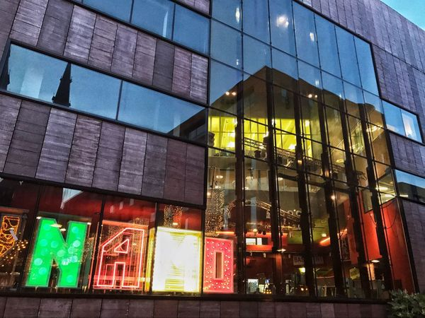 Multi Colored Built Structure Illuminated No People Architecture Outdoors EyeEmBestPics Light And Shadows Getting Inspired Our Best Pics Taking Photos EyeEm The Best Shots IPhone7Plus EyeEm The Bes Fineart The Week Of Eyeem EyeEm Gallery Building Exterior Reflections In The Glass Windows Streetphotography Lighting Equipment Perspective Photography Perspectives Reflection Reflected Glory The City Light