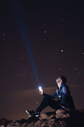 Selfie with stars on top of mountain