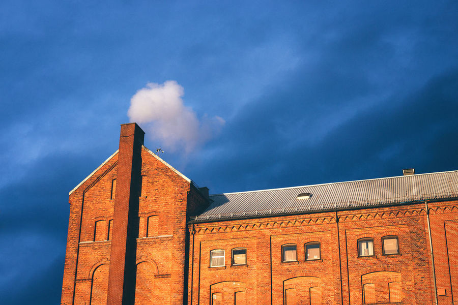Architecture Blue Blue Sky Brewery Brick Building Brick Wall Building Building Exterior Cloud - Sky Contrast EyeEm EyeEm Best Shots EyeEm Gallery Fujifilm No People Orange Color Outdoors Sky Sunlight Wall Warm Light X100S