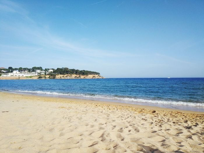 S'Agaró Costa Brava Girona Catalonia Catalunya Water Sea Clear Sky Beach Sand Blue Summer Tourist Resort Sunny Sky Seascape Coastline Coast Horizon Over Water Tranquil Scene Calm