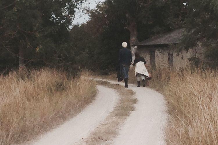 Road Couple Walking Nature