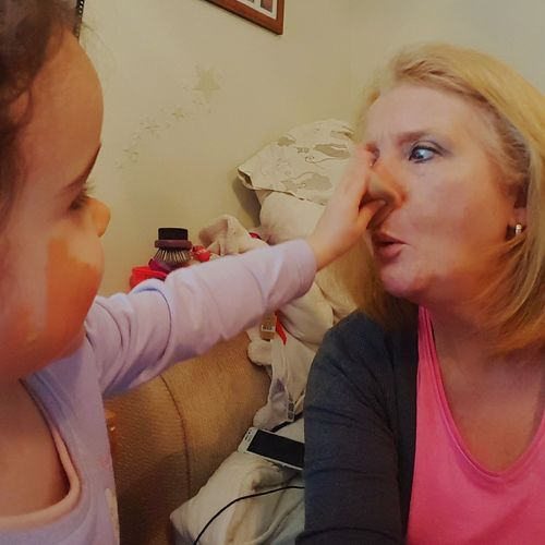 Showing Imperfection experimenting with cosmetics Check This Out Enjoying Life Enjoy The Little Things Granddaughter Loves Grandma Trial and error foundation lipstick having fun