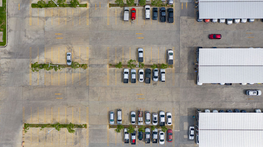 High angle view of cars in building