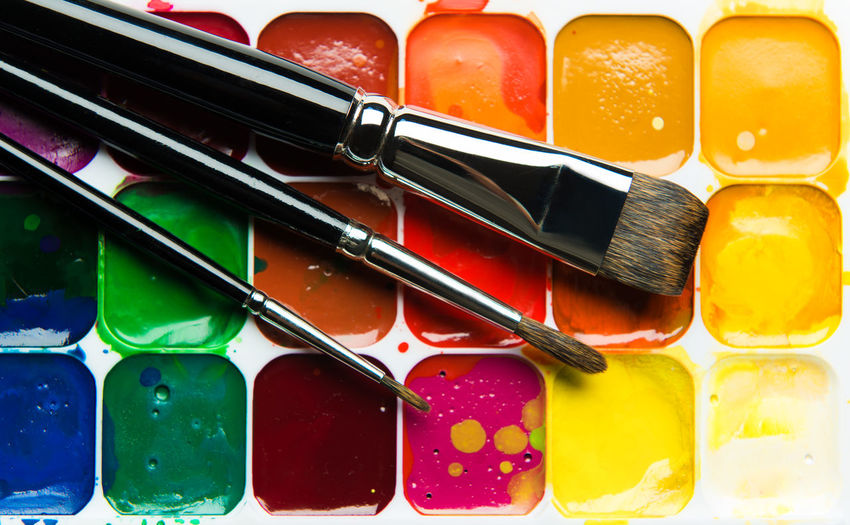 Watercolor paintbox and paintbrushes close-up Artistic Bright Colors Objects Paint Paint-box PaintBox Set Watercolour Aquarelle Art Brushes Close-up Colorful Multi Colored No People Paint Brushes Palette Colors Pallette Stain Still Life Used Variety Watercolor