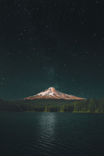 Created using two separate photographs, both taken by me. Mountain Pretty Gorgeous Getting Inspired Getty Images The Great Outdoors - 2018 EyeEm Awards New Water Reflection Oregon Dramatic EyeEmBestPics Dark Blue Orange Trees Lake Eye4photography  Moody EyeEm Nature Lover Astronomy Star - Space Milky Way Galaxy Mountain Sky Architecture Space And Astronomy Calm Snow Covered