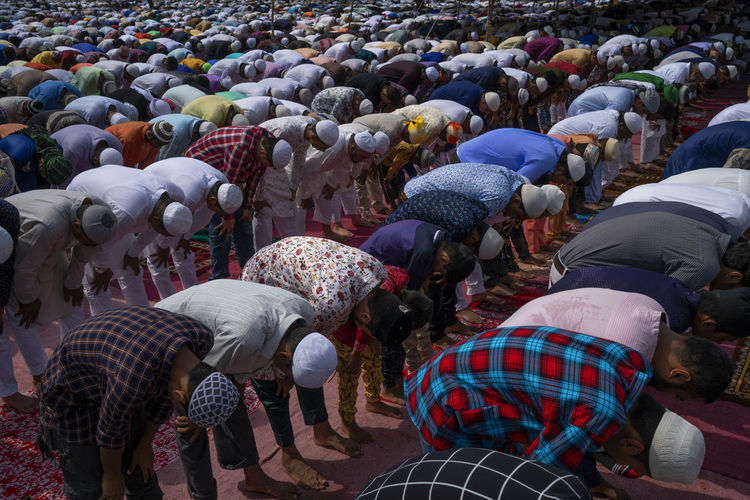 Men praying in mosque