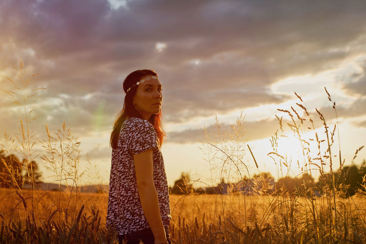 Alive  Beauty Beauty In Nature Emotions Evening Field Freedom Moody Sky Nature Nature One Person Outdoors Sky Summer Sunset Thinking Wheat Woman Women