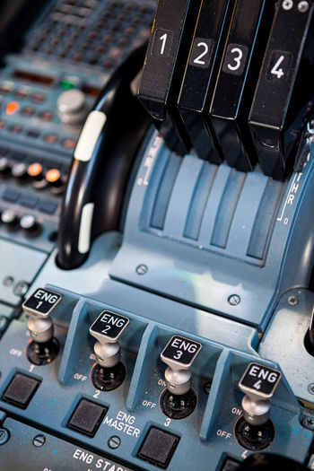 Close-up of airplane cockpit control panel