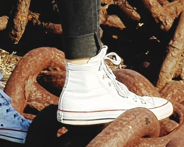 Chains Rusty Metal Close-up Shoelace Footwear Pair Shoe Flat Shoe Canvas Shoe