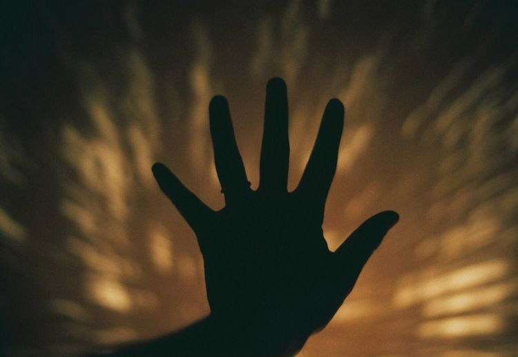 Close-up of silhouette hand against blurred background