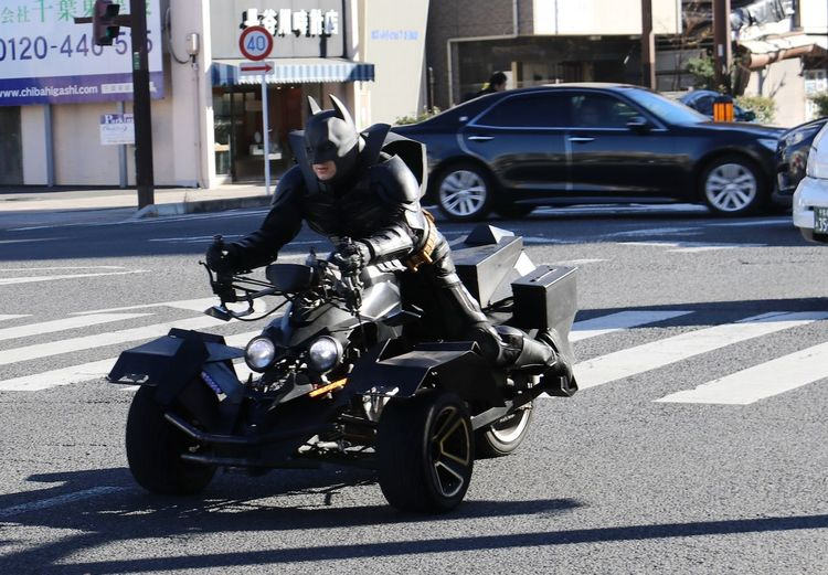 Motorcycle parked on road