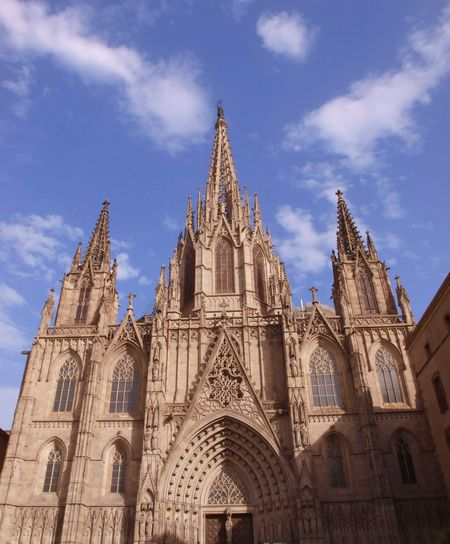 Low Angle View Of Barcelona Cathedral Against Sky