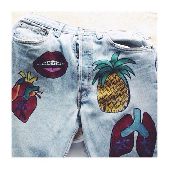 Pimp my jeans Draw Clorophillaart Jeans Pimp colors anatomical heart
