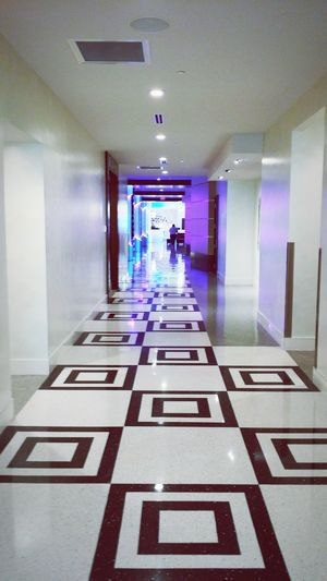 Black And White Tile Art Hallway Colored Lights Contemporary Architecture Casino