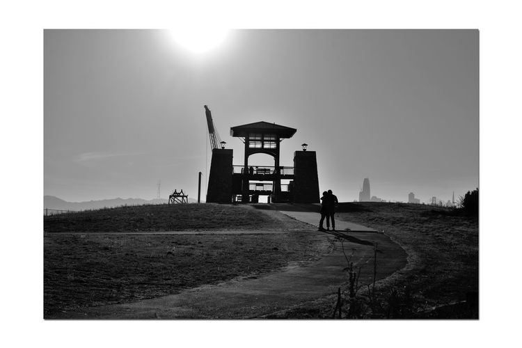 Shoreline Park At Middle Harbor 3 Hilltop Middle Harbor Port Of Oakland, Ca Walkway Observation Tower Dredging Crane Platform Partial View San Francisco Skyline Cityscape Late Afternoon Silhouettes Couple Embrace Monochrome_Photography Monochrome Black & White Black And White Photography Black And White Black And White Collection  Landscape_Collection Landscape_photography