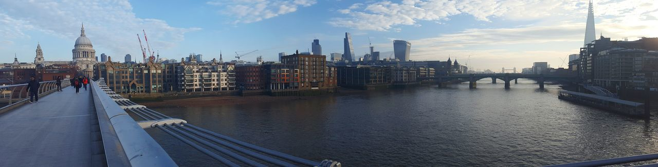 Panorama taken from the Millennium Bridge, London Skyscraper Cityscape City London River Thames Architecture River Urban Skyline Panorama London Panorama St Paul's Cathedral The Shard Building Walkie Talkie Building Bridge Cheesegrater Building EyeEm LOST IN London